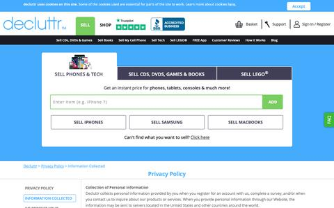 Screenshot of Privacy Page decluttr.com - Information Collected  Privacy Policy   Decluttr - captured Sept. 28, 2018