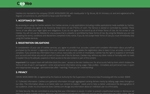 Screenshot of Terms Page ceevee.com - Book people for your projects   CeeVee - captured Sept. 23, 2014