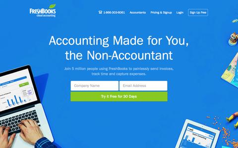 Screenshot of Home Page freshbooks.com - FreshBooks - Online Invoicing, Accounting & Billing Software - captured Sept. 19, 2014