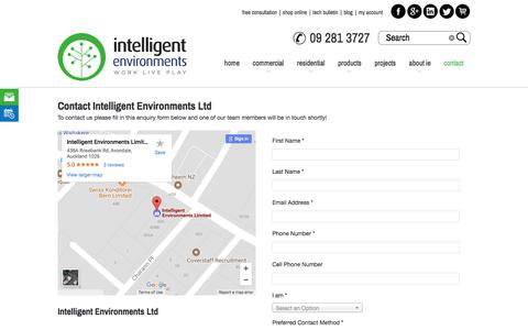Screenshot of Contact Page intelligentenvironments.co.nz - Intelligent Environments Ltd - Free Consultation - captured Oct. 15, 2017