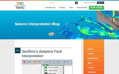 Screenshot of Blog geoteric.com - Seismic Interpretation Blog from GeoTeric | 3D Seismic Interpratation Software - captured Oct. 14, 2017