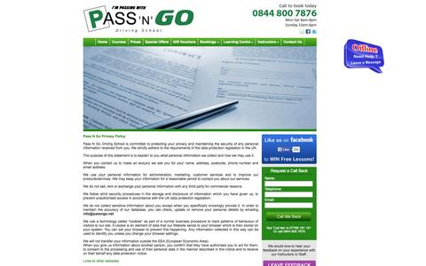 Screenshot of Privacy Page passngo.net - Pass N Go Driving School Privacy Policy - captured Oct. 1, 2014