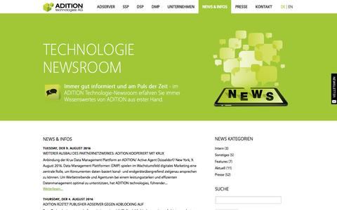 Screenshot of Press Page adition.com - News & Infos   ADITION technologies AG - captured Aug. 22, 2016