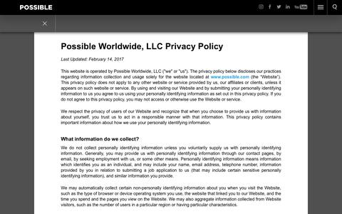 Screenshot of Privacy Page possible.com - Contact Us | POSSIBLE - captured Oct. 8, 2017