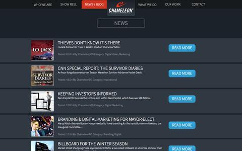 Screenshot of Press Page chameleondg.com - Latest News & Trends | ChameleonDG | Boston/Denver Branding & Design/Creative Agency - captured Sept. 29, 2014