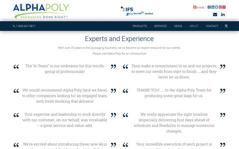 Screenshot of Testimonials Page alphapoly.com - Testimonials :: Alpha Poly :: Packaging Done Right - captured Nov. 20, 2016