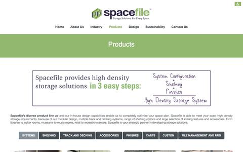 Screenshot of Products Page spacefile.com - High Density Storage Solutions | Spacefile Products - captured Oct. 7, 2014