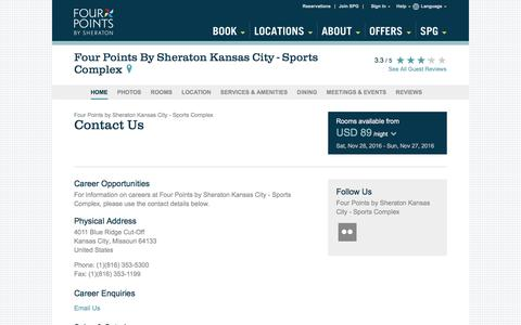 Screenshot of Contact Page starwoodhotels.com - Contact Us | Four Points by Sheraton Kansas City - Sports Complex - captured Nov. 25, 2016