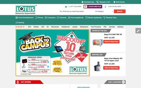 Screenshot of Home Page lotuselectronics.com - Lotus Electronics - India's Leading Online Electronics Shopping Store To Buy Electronic Products Online - captured July 17, 2016