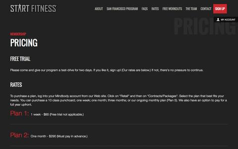 Screenshot of Pricing Page startfitness.com - Start Fitness - captured Sept. 30, 2014