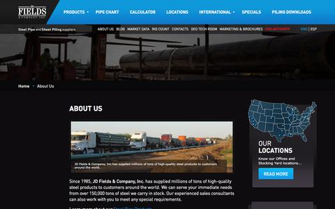 Screenshot of About Page jdfields.com - About Us | JD Fields | Steel Tube Manufacturers in USA | JDFields.com - captured Sept. 25, 2018