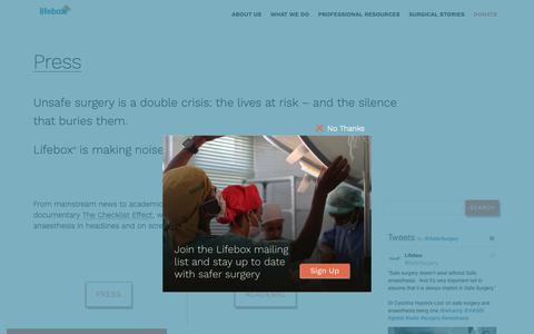 Screenshot of Press Page lifebox.org - Press - Lifebox - captured Nov. 5, 2018