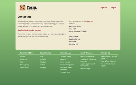 Screenshot of Contact Page toshl.com - Technical support, bug reports and feature requests | Toshl Finance - captured Sept. 24, 2014