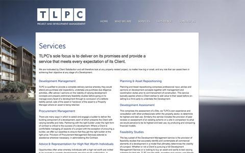 Screenshot of Services Page tlpc.com.au - Services | TLPC - captured Oct. 6, 2014