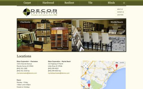 Screenshot of Contact Page Locations Page decorsc.com - Locations - Décor Corporation - captured Oct. 23, 2014
