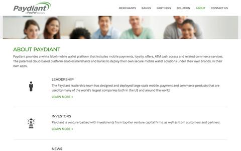 Screenshot of About Page paydiant.com - About - Paydiant, Inc. - captured Feb. 16, 2017
