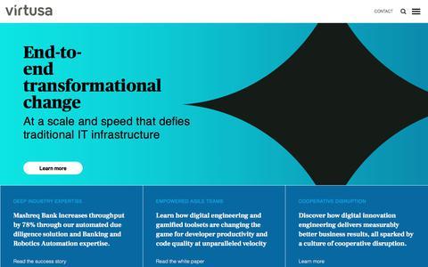 Screenshot of Home Page virtusa.com - Digital Innovation Engineering - Virtusa - captured Aug. 10, 2019