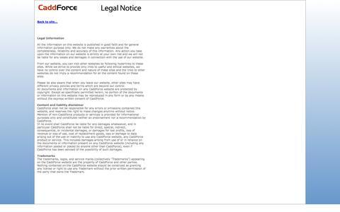 Screenshot of Terms Page caddforce.com - CaddForce - Legal Notice - captured Sept. 26, 2014