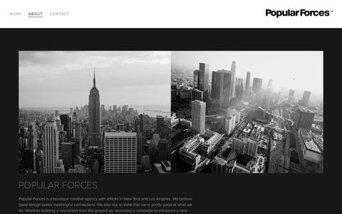 Screenshot of About Page popularforces.com - About — Popular Forces NY/LA - captured July 14, 2016