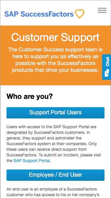 SuccessFactors customer support