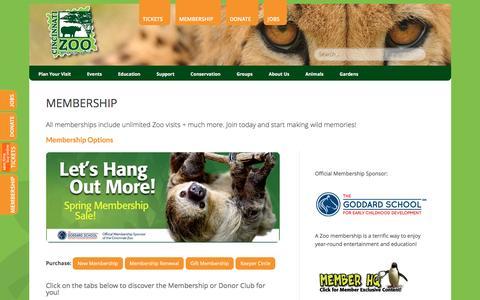 Screenshot of Signup Page cincinnatizoo.org - Membership - The Cincinnati Zoo & Botanical Garden - captured March 18, 2016