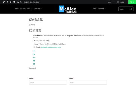 Contacts - McAfee Institute