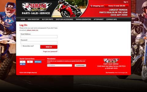 Screenshot of Login Page yamahasportsplaza.com - Log On | Yamaha Sports Plaza - captured Jan. 27, 2018