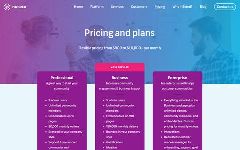 Screenshot of Pricing Page insided.com - Pricing inSided online community - Get a free personal pricing quote - captured Nov. 27, 2018