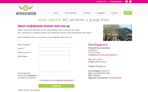 Screenshot of Contact Page wingweb.nl - Contact | Wingweb - dé internetpartner voor ondernemers - captured Sept. 21, 2018