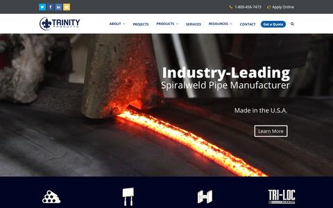 Screenshot of Home Page trinityproducts.com - Trinity Products – Steel Pipe Manufacturer - captured Oct. 20, 2018