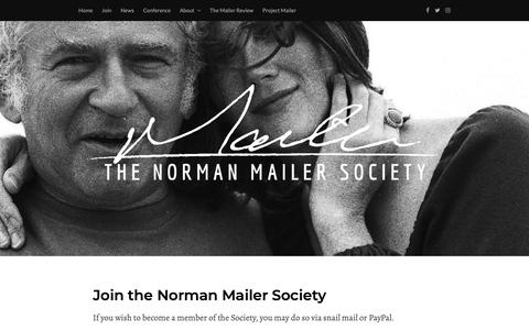 Screenshot of Signup Page normanmailersociety.org - Join the Norman Mailer Society – Norman Mailer Society - captured Oct. 22, 2018