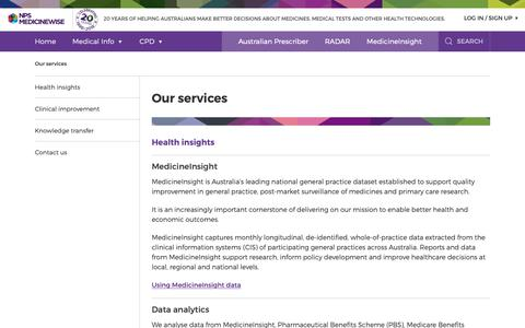Screenshot of Services Page nps.org.au - Our services | NPS MedicineWise - captured Dec. 12, 2018