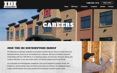 Screenshot of Jobs Page idi-insulation.com - Careers - IDI Insulation - captured Feb. 2, 2016