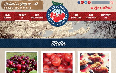 Screenshot of Press Page cherryfestival.org - Media :: National Cherry Festival - captured June 25, 2017