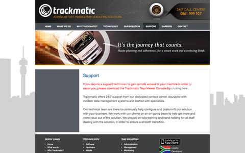 Screenshot of Support Page trackmatic.co.za - Trackmatic – Support - captured Oct. 7, 2014