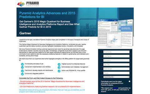 Screenshot of Landing Page pyramidanalytics.com - Gartner's Magic Quadrant and 2015 BI Predictions - Gartner Research - Paid Search - Pyramid Analytics - LP - captured July 10, 2016