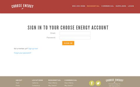 Screenshot of Login Page chooseenergy.com - Login  | Choose Energy - captured July 19, 2014