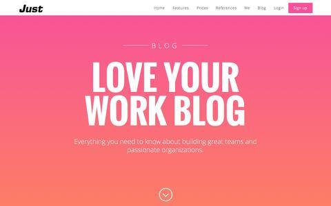 Screenshot of Blog just.social - Just. Love Your Work Blog. - captured Sept. 25, 2014
