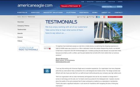 Screenshot of Testimonials Page americaneagle.com - Testimonials from our Clients | Americaneagle.com - captured Oct. 10, 2014