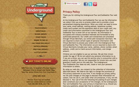 Screenshot of Privacy Page undergroundtour.com - UNDERGROUND TOUR - Privacy Policy - captured Nov. 1, 2014