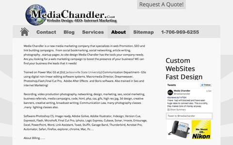 Screenshot of About Page mediachandler.com - About Media Chandler- professional trained in Multimedia - captured Nov. 3, 2014