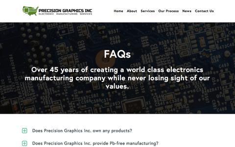 Screenshot of FAQ Page precisiongraphics.us - FAQs - Precision Graphics - captured Aug. 21, 2017