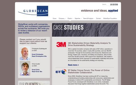 Screenshot of Case Studies Page globescan.com - GlobeScan - GlobeScan | Case Studies Overview - captured Sept. 23, 2014