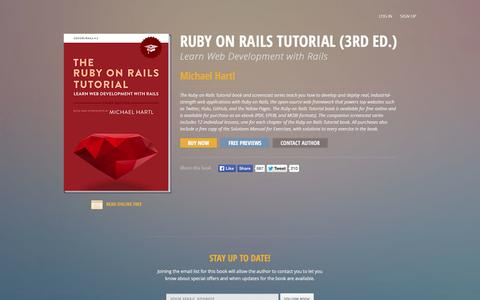 Screenshot of Home Page railstutorial.org - Ruby on Rails Tutorial (3rd Ed.), Learn Web Development with Rails - Michael Hartl    Softcover.io - captured Jan. 22, 2015