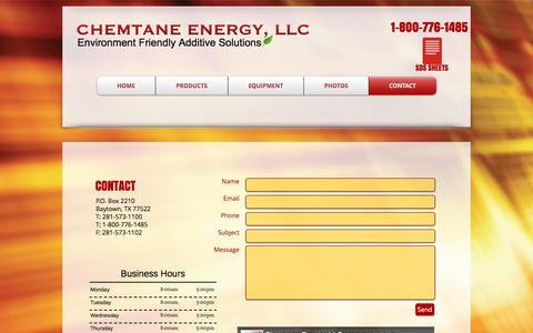 Screenshot of Contact Page chemtane2.com - Chemtane Energy, LLC | Contact - captured Oct. 7, 2016