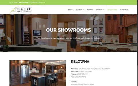 Screenshot of Locations Page norelcocabinets.ca - Find the showroom nearest you | Norelco Cabinets - captured Nov. 8, 2017