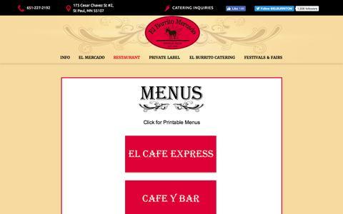 Screenshot of Menu Page elburritomercado.com - menu - captured Nov. 2, 2016