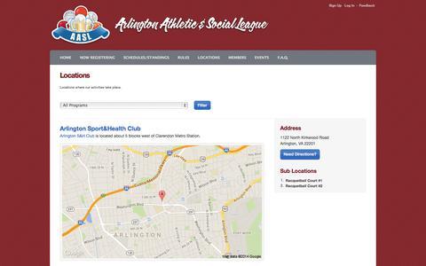 Screenshot of Locations Page playaasl.com - Locations Listing : DC Social Sports Club @ Arlington - captured Oct. 4, 2014
