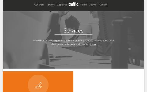 Screenshot of Services Page traffic-design.co.uk - Our Services - Traffic Design Glasgow - captured Oct. 24, 2017