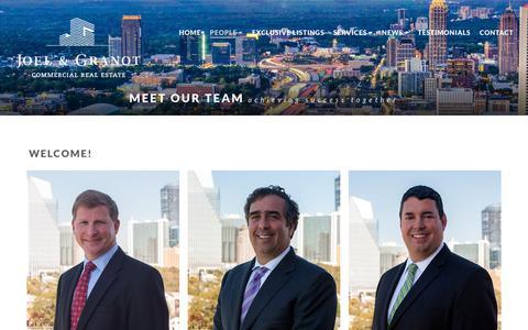 Screenshot of Team Page joelandgranot.com - People, Joel & Granot, Commercial Real Estate, Atlanta, GA, Tenant and Owner Representation - captured Oct. 3, 2018